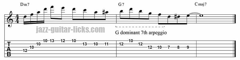Dominant 9th arpeggio guitar lick