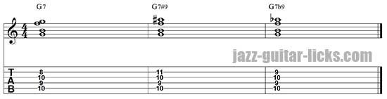 Dominant chord altered ninth
