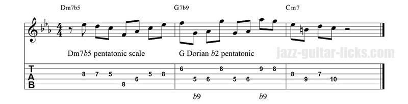 Dorian b2 pentatonic lick