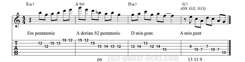 Dorian b2 pentonic phrase