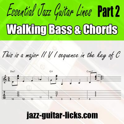jazz guitar lines walking bass tabs