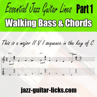 jazz guitar lines walking bass patter