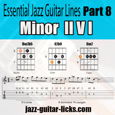 minor 2 5 1 jazz guitar lick