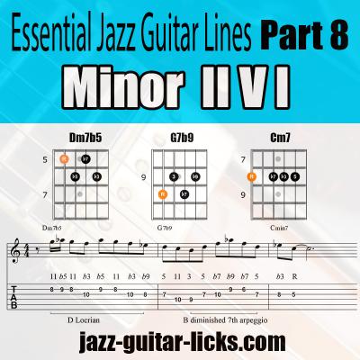 minor 2 5 1 jazz guitar lick