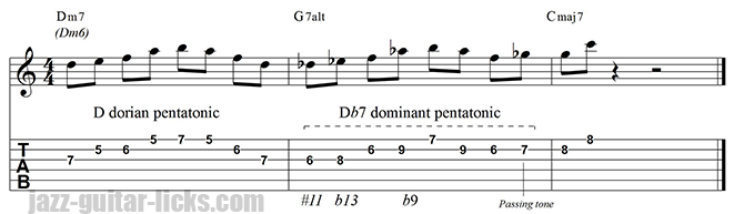 G altered guitar lick tritone substitution