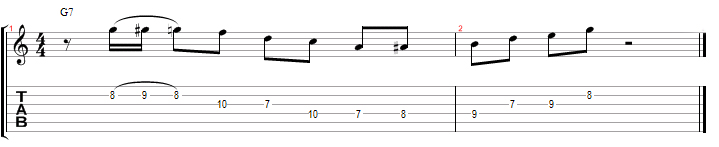 G Dominant 7th jazz guitar lick with tabs