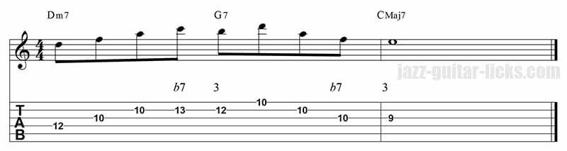 Guide tones jazz guitar lick 3