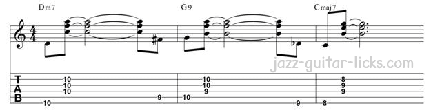 Guitar walking bass line exercise approach root from below and above