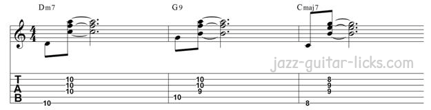 Guitar walking bass line exercise chords on and of the beat
