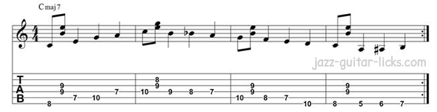 Guitar walking bass pattern long line cmaj7
