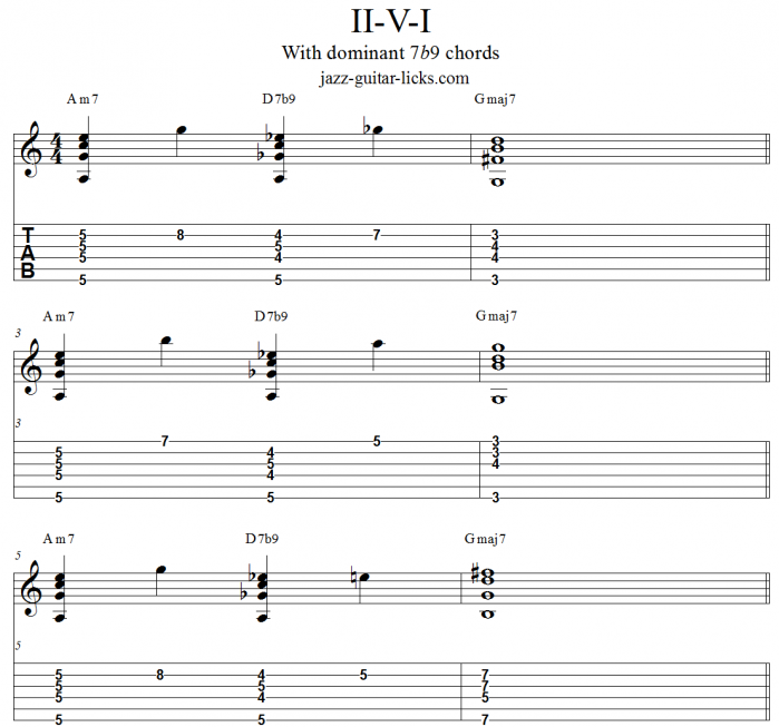 ii V I progression and 7b9 chords