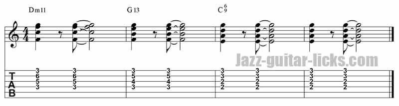 II V I guitar comping 6 chords