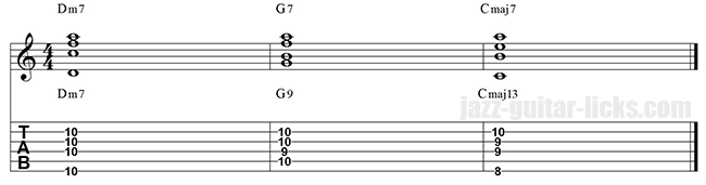 II V I guitar voicings