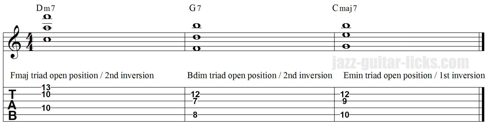 II V I open triads guitar