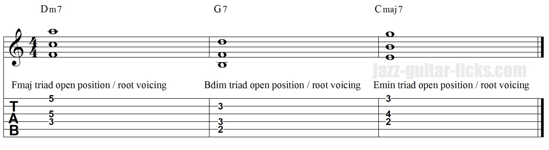 II V I open triads tabs