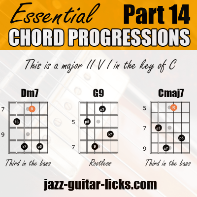 II V I progression guitar chord shapes