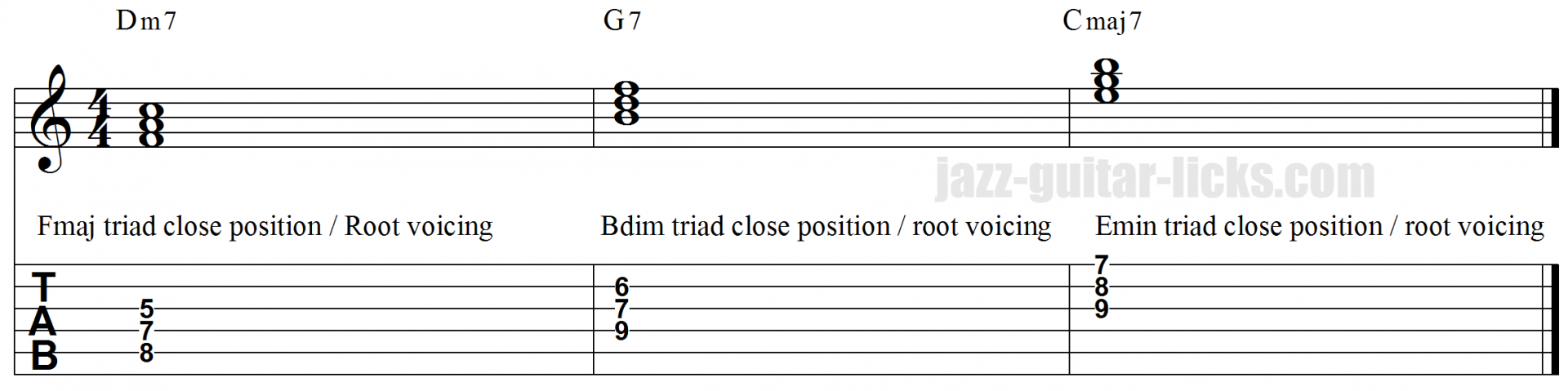 II V I triad voicings 1