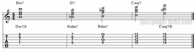 II-V-I jazz guitar chords