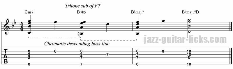 Tritone substitution jazz guitar lick Bb