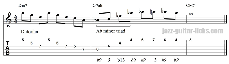 Altered jazz guitar lick