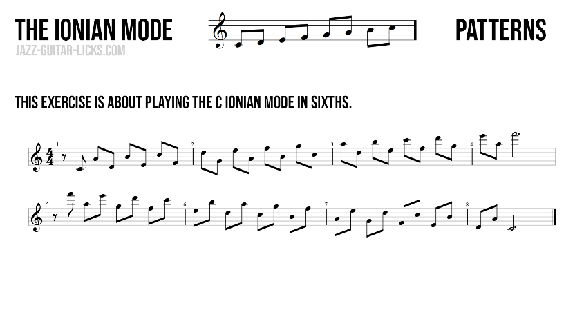 Ionian mode major scale aka ionian mode in sixths
