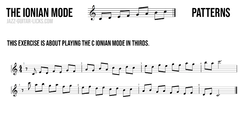 Ionian mode major scale aka ionian mode in thirds