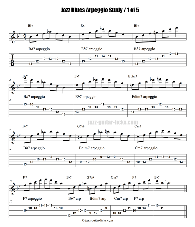 Jazz blues arpeggio guitar study part 1