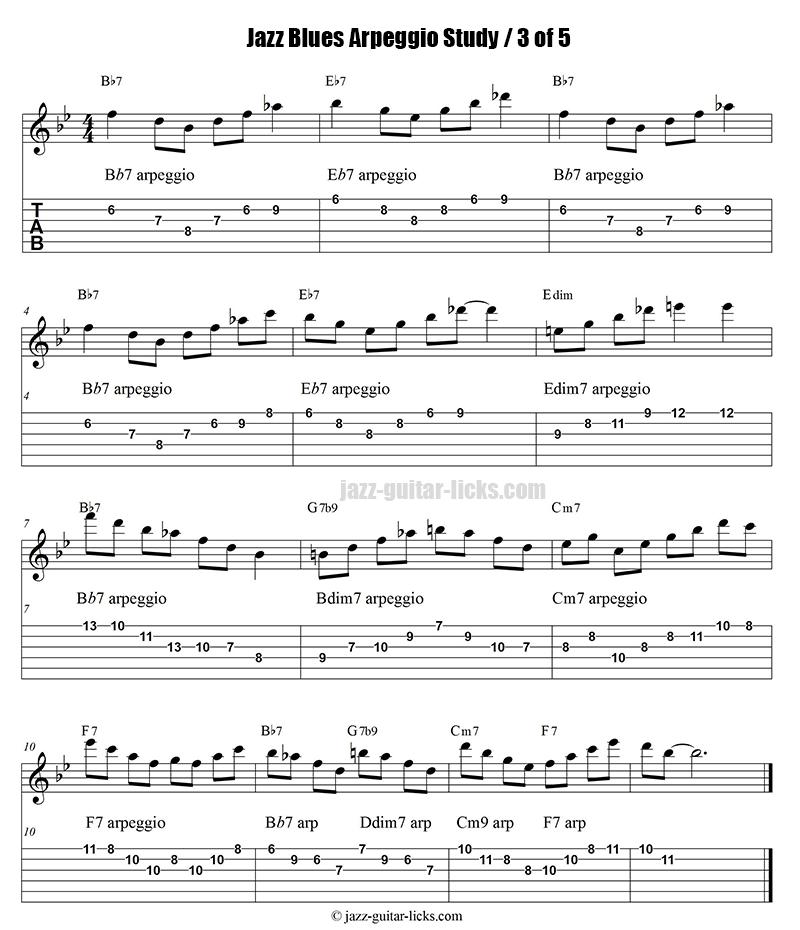 Jazz blues arpeggio guitar study part 3