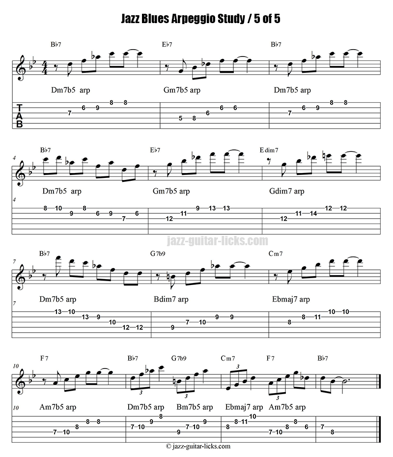 Jazz blues arpeggio guitar study part 5