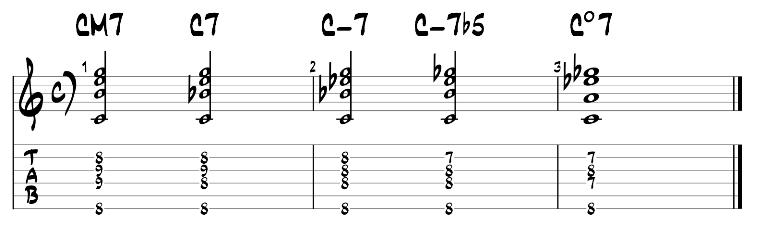 Jazz guitar chord exercise 1