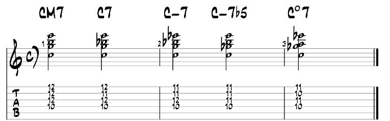 Jazz guitar chord exercise 3