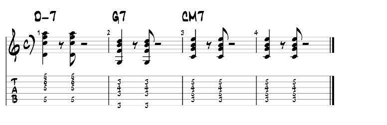 Jazz guitar chords 2 5 1 progression exercise 1