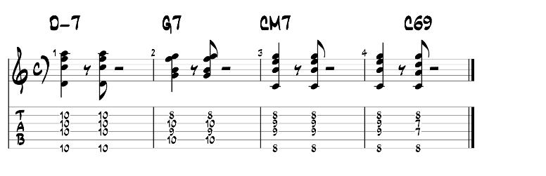 Jazz guitar chords 2 5 1 progression exercise 2