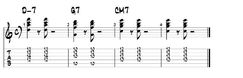 Jazz guitar chords 2 5 1 progression exercise 3