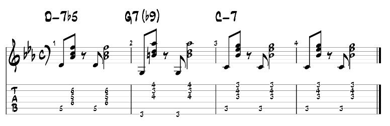 Jazz guitar chords minor 2 5 1 progression exercise 1