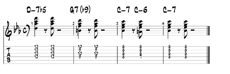 Jazz guitar chords minor 2 5 1 progression exercise 3