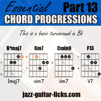 Jazz turnaround guitar chord diagrams