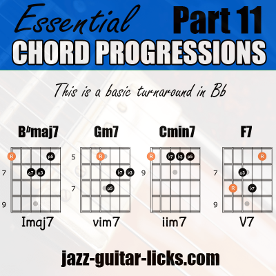 Jazz turnaround guitar chords