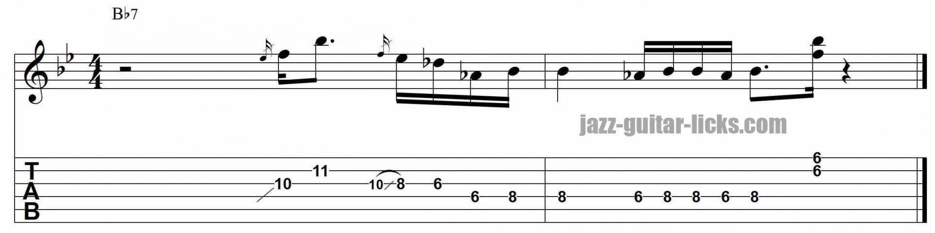 Soul jazz minor pentatonic guitar lick