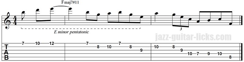 Lydian lick guitar