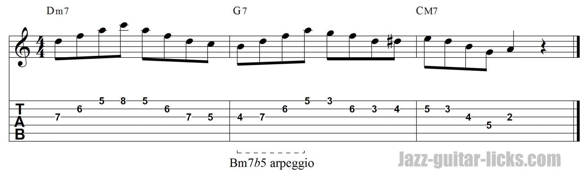 m7b5 arpeggio jazz guiatr lick w/ tab 2