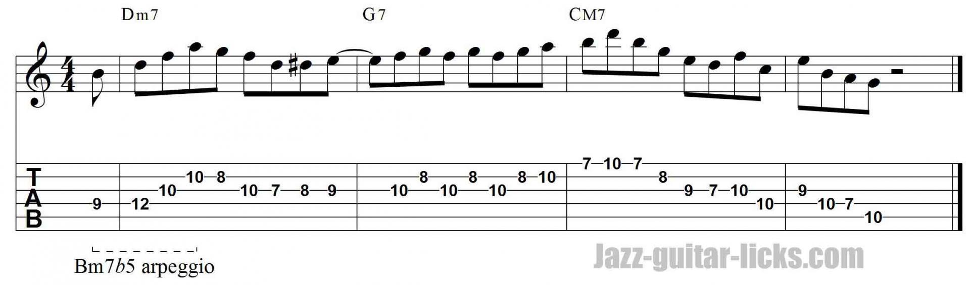 m7b5 arpeggio jazz guitar lick tab free lesson