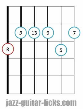 Major 13th jazz guitar chord 4