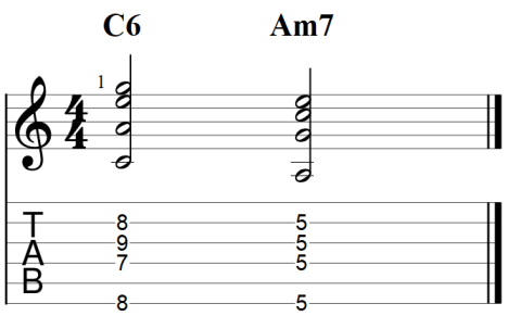 Major 6 chord and relative minor