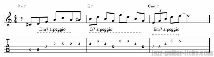 Major 9th arpeggio lick - II V I
