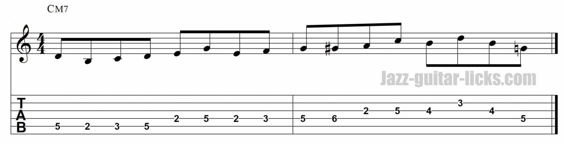 Major bebop jazz guitar lick
