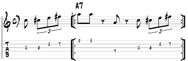 Major blues scale guitar lick exercise with tab 3