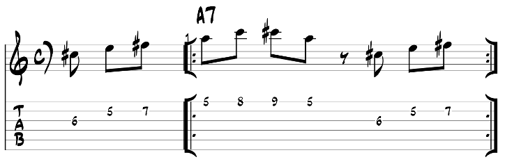 Major blues scale guitar lick exercise with tab 4