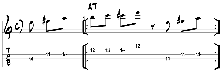 Major blues scale guitar lick exercise with tab 5