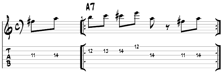 Major blues scale guitar lick exercise with tab 6